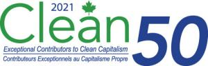 "The Clean50 logo is the word Clean in green, and the digits 50 alongside. Beneath the word ""Clean"", the tag line ""exceptional contributors to clean capitalism"" appears in both French and English"