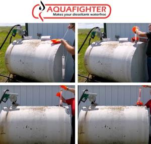 Image showing Aquafighter being installed into tank and then Aquafighter being removed from the fuel tank and replaced.