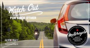 2021 Motorcycle Safety Awareness Month campaign message - Watch Out For Each Other. Image of a motorcycle and a car heading toward each other on a beautiful tree-lined highway.