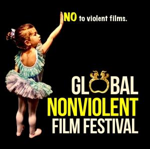 "The logo of Global Nonviolent Film Festival features little girl dressed as a ballerina pointing to the writing ""NO to violent films."""