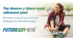 Image of FUTUREADY401K logo with smiling woman putting on running shoes