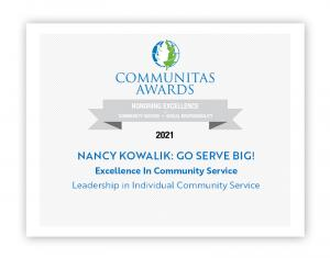 Certificate of Nancy Kowalik's Award from Communitas