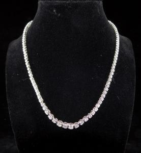 Stunning 14kt white gold and diamond tennis necklace