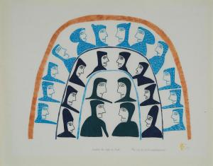 Jessie Oonark print called 'Inside the Igloo to Talk'