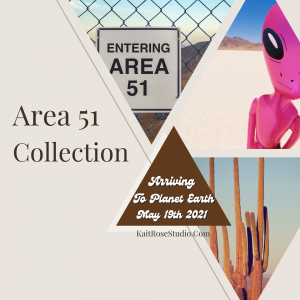 "Image introducing the Area 51 Collection with caption ""Arriving to Planet Earth May 19th, 2021."" Pictures in shapes of triangles include desert scenery, cacti, Area 51, and a pink alien doll"