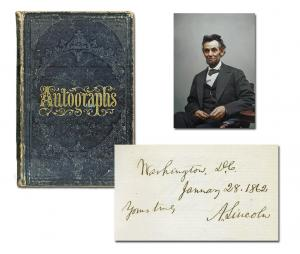 Victorian autograph album containing the signature of Abraham Lincoln and 226 members of his administration and Congress (est. $12,000-$14,000).