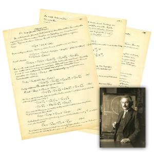 Albert Einstein three-page scientific manuscript pertaining to his Unified Field Theory from the 1940s (est. $60,000-$70,000).