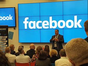 Alex Bomberg lecturing at Facebook London on espionage