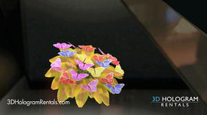 Butterflies on flower hologram
