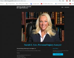 Sarah Ellen Cox, Attorney in Florida, info at AttorneyGazette