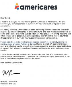 Americares CEO and President Michael J. Nyenhuis appreciates and thanks SubscriberWise for its support