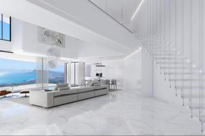 Modern living room with stunning views over the Mediterranean Sea  from Altea Hills Costa Blanca