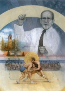Painting of Legendary Olympic Wrestler Dan Gable by Artist Mike Kupka
