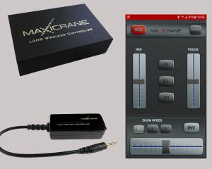 Maxicrane LANC Wireless Controller provides iPhone and Android smartphone control of select Sony, JVC and Canon camcorders