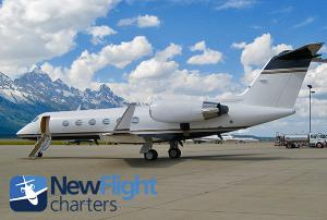 New Flight Charters Gulfstream IV on ramp ready for boarding