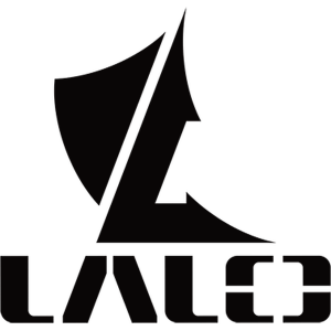 image of a black letter spelling out lalo and the letter L and a fin