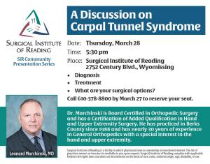 Dr Leonard Marchinski, lecture on carpal tunnel syndrome, Pennsylvania