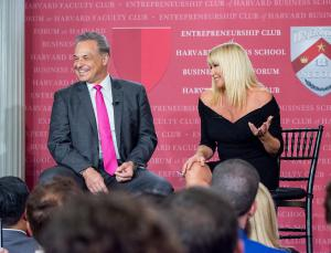 Financial advisor marketer Clint Arthur sharing the stage with actress Suzanne Somers at Harvard Faculty Club