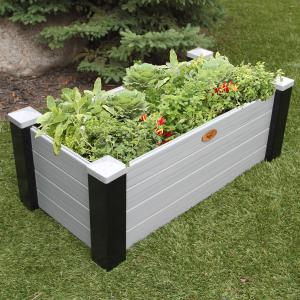 A raised bed container garden