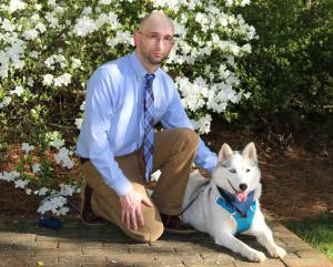 Lee Robertson and Auri, his 2-year old Siberian Husky.