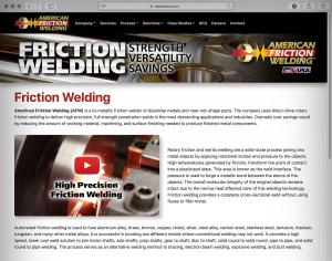 American Friction Welding Website Homepage