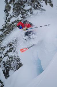 Chad Sayers enjoying the Powder at Northern Escape Heli Skiing