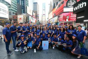 Team building activities done by Youth Delegates and Youth Ambassadors as they brought human rights to the streets in New York City's iconic Times Square.