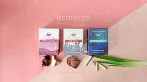 The debut of immersé tea's first collection.  On the left is Morning Booster (Roselle and Ginger tea). At the middle is City Calmer (Bael Fruit tea). And on the right is Bedtime Story (Lemongrass and Pandan tea)