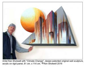 Artist Ken Shotwell with patented 3D wall sculpture.
