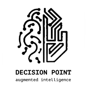half human brain half machine brain Decision Point logo for augmented intelligence