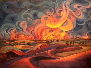 Painting by Alice Leese of texas wildfire