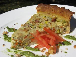 Vegan Italian Cannellini Bean Quiche using tofu pate as the carrier