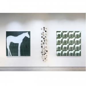 This is an exhibition image of work by Julie Sneed and Jodi Walsh currently on view at Exhibit by Aberson