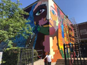 The puzzle piece mural image on Staten Island's PS 22