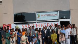 During the grand opening of Santhigram Toronto Center, Santhigram Team interacting with the VIPs and other dignitaries.