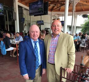 Hall of Fame Jockey Chris McCarron with Animal Wellness Action Executive Director Marty Irby in Saratga Springs on Saturday Discussing Horse Protection Issues
