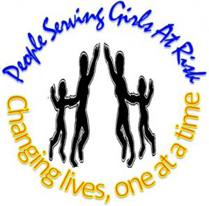 People Serving Girls at Risk logo, says 'changing lives, one at a time' and features small graphic of four black silhouettes with their arms raised.
