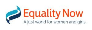 "Equality Now logo - Equality Now written in red font, underneith in dark blue smaller writing it says ""A just world for women and girls"""