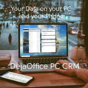 DejaOffice PC CRM on a laptop in a cafe