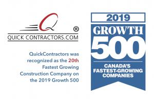 QuickContractors.com awarded the TOP 20 Fastest Growing Contruction Company in Canada 2019 Growth 500