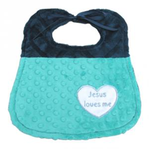 Baby bib with cuddly minky on both sides and Jesus loves me heart applique.