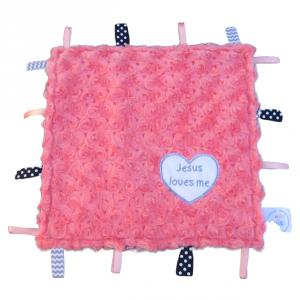 "12"" square sensory toy lovey with coral swirl minky, navy chevron minky, and Jesus loves me heart applique.  It has ribbon tags all around and crinkle inside.  Baby will love to play and cuddle with it!"