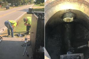 Electro Scan field workers positioning its intelligent probe to assess sewer pipes.