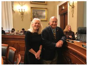 Animal Wellness Action Deputy Director of Federal Affairs Penny Eastman with Delegate Sablan at the Hearing Today