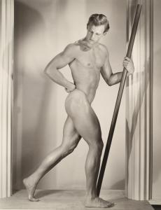 Large Bruce Bellas (1909-1974) physique photo of nude male. Provenance: Bruce Bellas archive. Estimate: $500-$800
