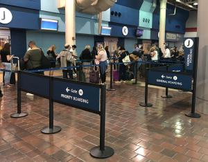 Amtrak passengers waiting in the queue