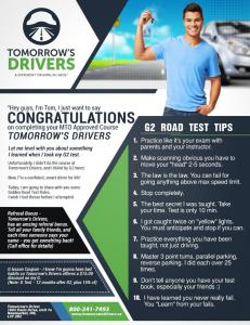 Tomorrow's Drivers G2 Test Tips for Newmarket and Markham Drivers