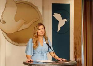 Erica Rogers, National Director of Youth for Human Rights International, describes the group's education initiative at the Peace Day celebration at the Church of Scientology in Washinton, D.C.