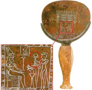 Egyptian hand mirror and enlargement from back