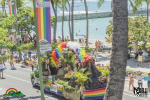 A colorful float makes its way down the Honolulu Pride™ Parade route.